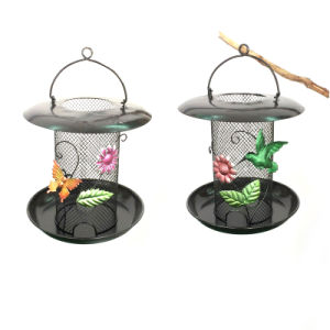 Solar Powered Stained Glass Decorated Hanging Garden Decoration Metal Birdfeeder pictures & photos