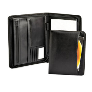 Black Leather Document Bag Type File Folder with Zipper pictures & photos