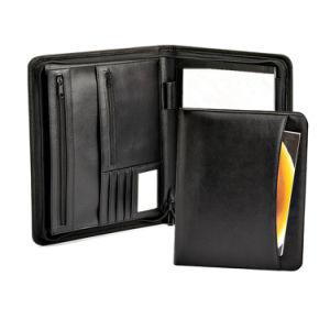 Black Leather Document Case Portfolio Type File Folder with Zipper pictures & photos