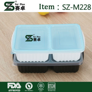 Disposable Rectangular 2 Compartment Thickened Fast Food Lunch Box with Cover for Wholesale pictures & photos