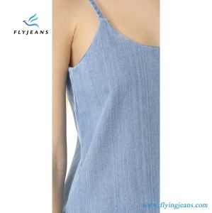 Cute and New Stylecotton Denim Women Slip Dress with Frayed Hem Enzyme Wash pictures & photos