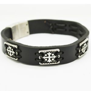 Stlb-021 Fashion Anchor Charm Woven Leather Bracelet Men pictures & photos