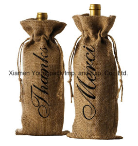 Fashion Promotional Custom Printed High Quality Single Bottle Jute Wine Carrier pictures & photos
