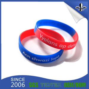 Custom Colorful Printrd Silicone Wristband Rubber Bracelet pictures & photos