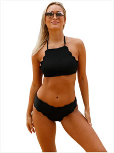 Black Scalloped Trim Halter Bikini Set pictures & photos