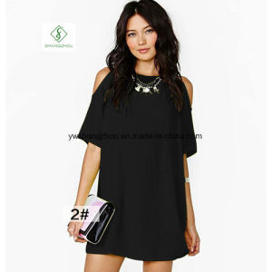 2017 Fashion Euramerican Short Sleeved Chiffon Strapless Maxi Dress Factory pictures & photos