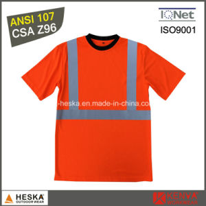 ANSI107 Custom Reflective Round Neck safety Tee Shirt pictures & photos