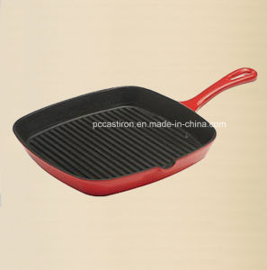 Popular Design Cast Iron Skillet with Green Enamel Coating pictures & photos