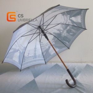 Outdoor Straight Umbrella with Wooden Shaft and J Handle (YSN02)