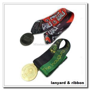 V Shape Sew Medal Ribbon with Dye Sublimated Printed Logo