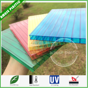 100% Virgin Ge / Bayer 8mm Twin-Wall Colored Cheap PC Roof Panel pictures & photos