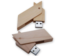 Cylindrical Wooden USB Flash Drive (PZW224) pictures & photos