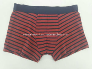 Yarn Dye Red Black Strip Cotton Children Underwear Boy Boxer Short Boy Brief pictures & photos
