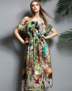 Sexy Floral Printing Chiffon Long Sundress pictures & photos