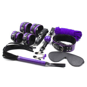 Sex Game Toys Fetish Whip Rope Blindfold Wrist Cuffs Collar Gag Nipple Clamps, Sex Leather Bondage Kit 8PCS/Set Pg0003 pictures & photos