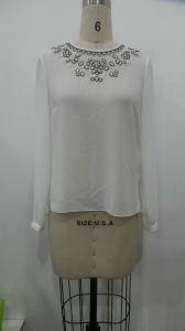 Sequins Fashion Long Sleeve Women′s Casual Chiffon Blouse, Women Clothes (X85090)
