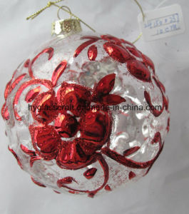 10cm Clear Christmas Glass Craft with Flowers for Christmas Decoration pictures & photos