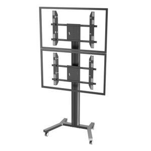 "Public TV Floor Stand Wheelbase Dual Screens 30-60"" Landscape & Portrait (AVA 201B) pictures & photos"