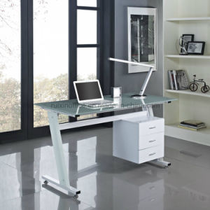 Contemporary Z Shaped 3 Drawers Home Office Computer Desk Black or White with Glass Top pictures & photos