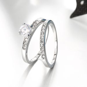 Europe Hot Sale Popular Round Zircon Ring Combinatorial Two Ring for Women pictures & photos