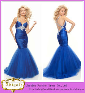 Latest Design Floor Length Spaghetti Straps Sweetheart Cross Back Royal Blue Mermaid Prom Dresses (WD100)