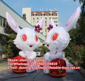 Inflatable Cute Rabbit with Drum for Decoration