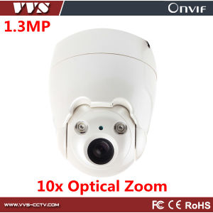 HD 1.3MP 10X Optical Zoom Plastic Mini Indoor IP PTZ Dome Camera