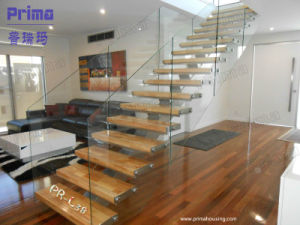 Interior Design Glass Railing Wooden Tread Staircase pictures & photos