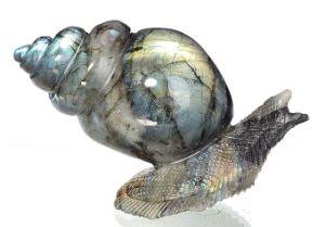 Natural Labradorite Carved Snail Sculpture Home Decoration #Aj03