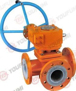 Lined 3-Way Ball Valve Worm Gear Operator pictures & photos