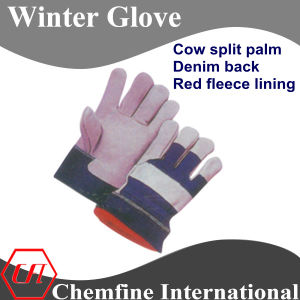 Cow Split Palm, Denim Back, Red Fleece Lining Leather Winter Glove pictures & photos