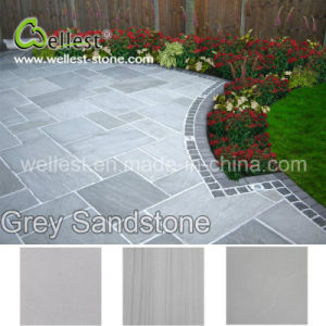 Honed Finish Cut-to-Size Outside Floor Paving Sy163 Grey Veins Sandstone pictures & photos