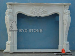 White Marble Stone Indoor Fireplace with Kid Carving pictures & photos