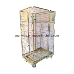 Folding Stackable Galvanized Steel Mesh Roll Pallet Roll Containers Roll Cages pictures & photos