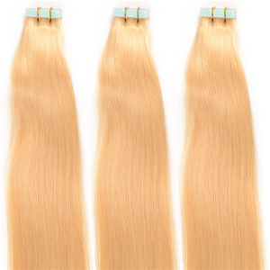 Blonde Brazilian Virgin Hair Skin Weft Tape in Hair Extensions pictures & photos