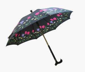 Manual Open Crutch Walking Stick Umbrella (SU014) pictures & photos