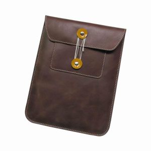 Genuine Leather Pouch Case for iPad, Envelope Sleeve in Brown