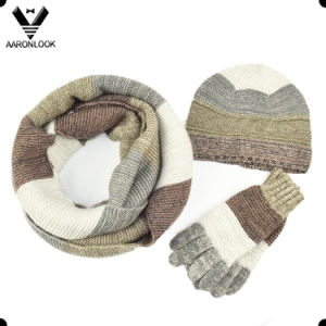 Hot Sale Trendy Unisex Mottled Yarn Knitted Winter Set in Stripe Look pictures & photos