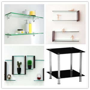 "1/2"" 3/8""Bathroom Corner Caddy /Shelf Floating Tempered / Toughened / Safety Glass with Polished Edges pictures & photos"