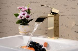 Golden Color Brass Body Zinc Hanlde Bathroom Taps Basin Faucet