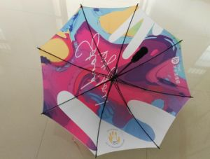 Custom Made Allover Printing Straight Automatic Golf Umbrella pictures & photos