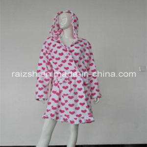 Heart Print Coral Fleece Women Robes pictures & photos