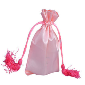 Custom Pink Satin Hair Weave Extension Bags for Packing with Drawstring and Assel pictures & photos