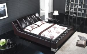 Modern Leather Soft Bed /Luxury Leather Bed /Luxury Leather Bedroom Furniture (6052) pictures & photos
