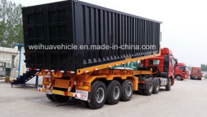3 Axles Rear Dump Skeleton Semi Trailer for Container Transport pictures & photos