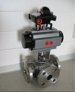 Ss Pneumatic/Electrical Three-Way Flange Ball Valve pictures & photos