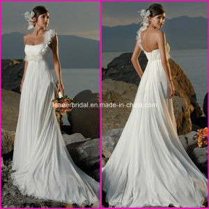Chiffon Bridal Dress Beach Country Maternity One Shoulder Wedding Gowns A41 pictures & photos