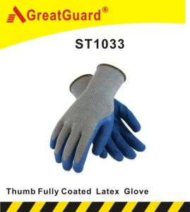 Thumb Fully Coated Latex Glove (ST1033B) pictures & photos