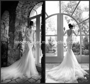 Deep V Collar Bridal Gown Long Sleeves Mermaid Wedding Dresses Ya1035 pictures & photos