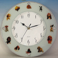 Glass Wall Clock 1079 with Dogs Picture